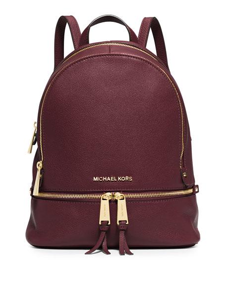 Rhea Small Zip Backpack, Merlot