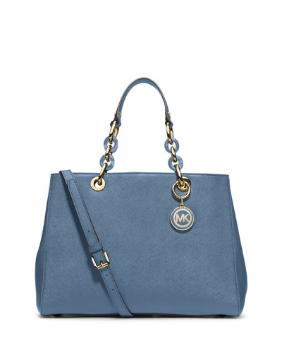 Cynthia Saffiano Medium Satchel Bag, Cornflower