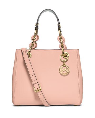 Cynthia Small North-South Satchel Bag, Pastel Pink