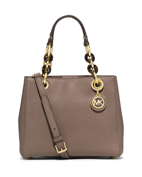 michael michael kors cynthia small north south satchel bag dark dune. Black Bedroom Furniture Sets. Home Design Ideas
