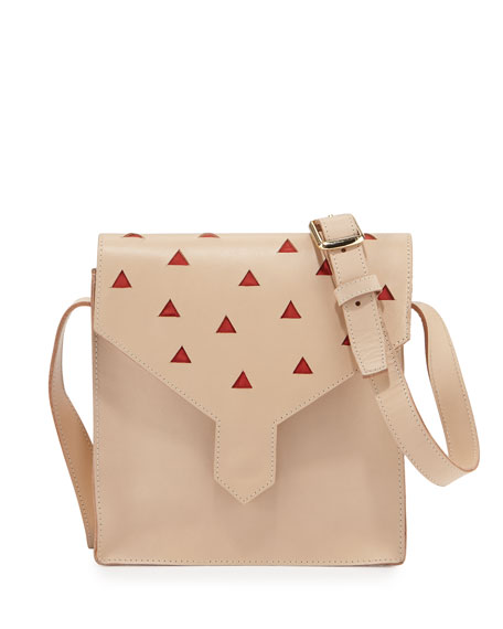 Lauren Merkin Margot Leather Cutout Shoulder Bag, Natural