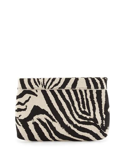 Paige Zebra-Print Evening Clutch Bag, White/Black