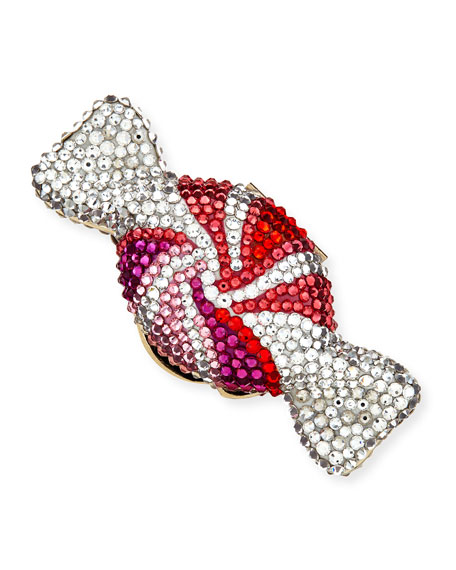Judith Leiber Couture Swirled Candy Crystal Pillbox, Champagne/Red