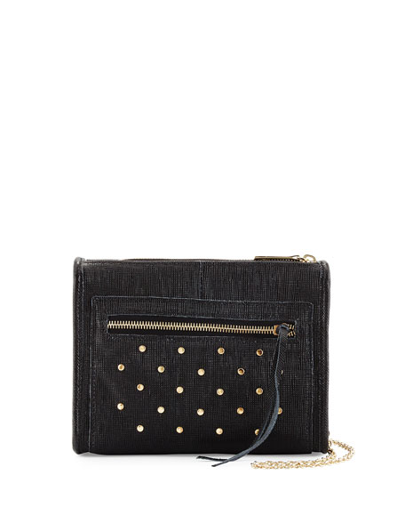 Lauren Merkin Cece Mini Studded Leather Evening Clutch Bag, Black