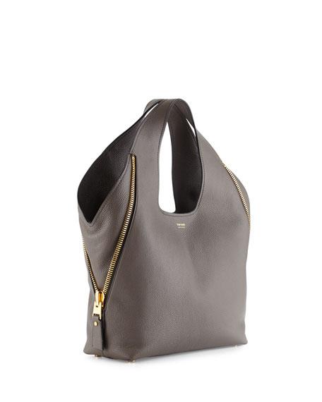 ee6c0c0fd48cc9 TOM FORD Jennifer Side-Zip Medium Leather Hobo Bag, Dark Gray