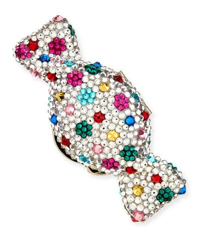 Polka Dots Crystal Candy Pillbox, Silver Multi