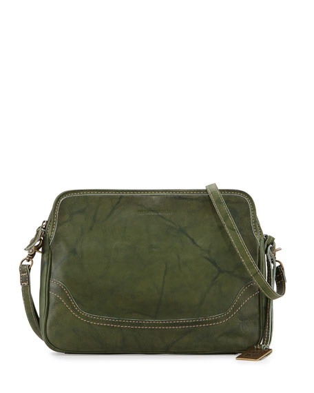 Frye Campus Leather Crossbody Clutch Bag, Olive