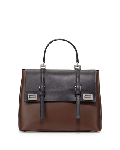 Half-Flap Double Turn-Lock Satchel Bag, Black/Brown (Nero + Bruciato)