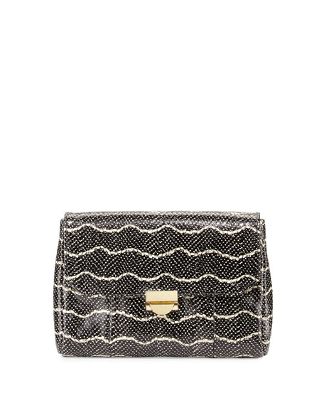 Lauren Merkin Mini Marlow Snake-Embossed Leather Clutch Bag, Black/Cream