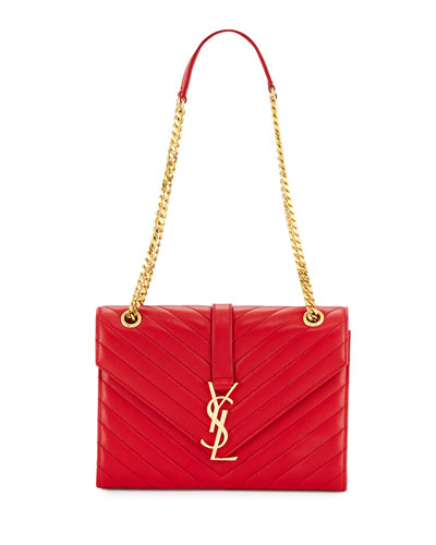 Small V-Flap Chain-Strap Shoulder Bag, Red