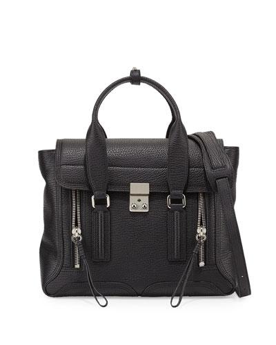 Pashli Medium Calf Satchel Bag, Black