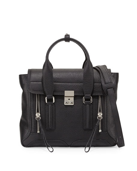 3.1 Phillip LimPashli Medium Calf Satchel Bag, Black