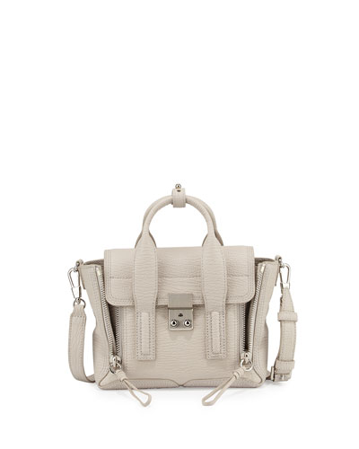 Pashli Mini Leather Satchel Bag, Feather