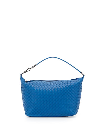 Intrecciato Small Shoulder Bag, Cobalt