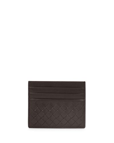 26734f565b48cf Bottega Veneta Intrecciato Leather Card Case, Dark Brown
