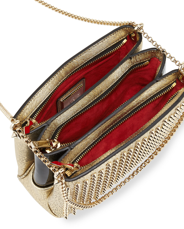 3e1c2919e59 Triloubi Small Triple-Gusset Spiked Shoulder Bag, Gold