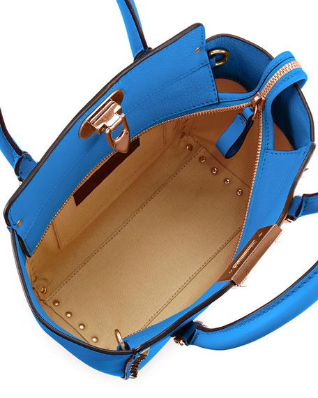 Rockstud Micro Leather Tote Bag, Light Sapphire