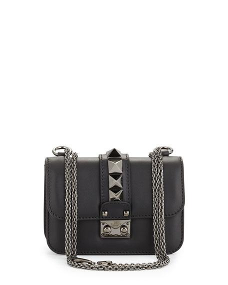 Valentino Garavani Lock Half-Flap Small Shoulder Bag, Black