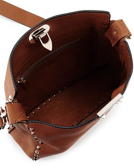 Rockstud Small Flip-Lock Messenger Bag, Nocciolo