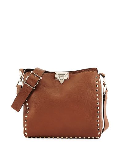 Rockstud Small Flip-Lock Messenger Bag, Nocciolo