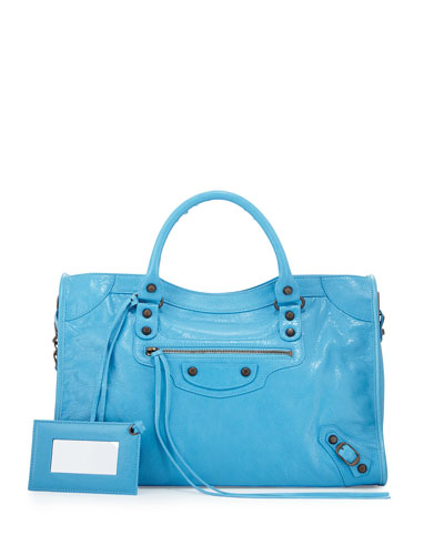 Classic City Lambskin Tote Bag, Bright Blue