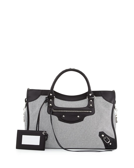 Balenciaga Classic City Perforated Twill Bag, Black/White