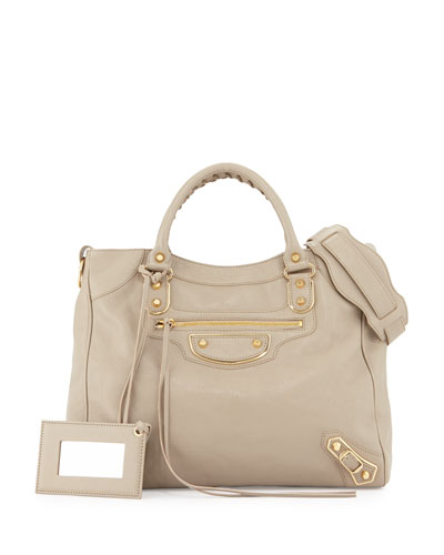 Metallic Edge Classic Velo AJ Bag, Taupe