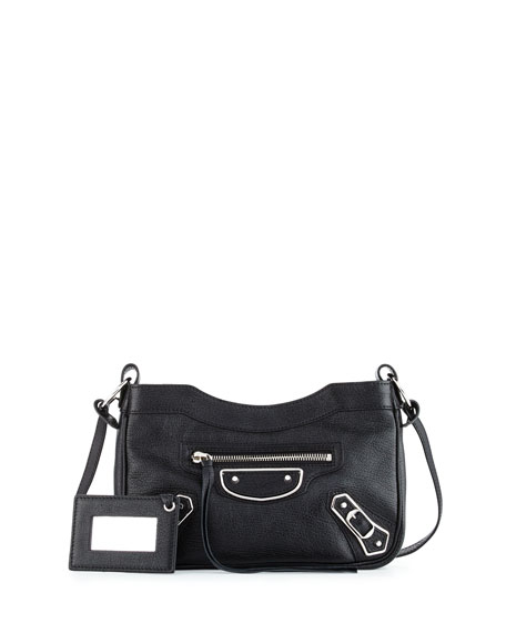 BalenciagaMetallic Edge Nickel AJ Crossbody Bag, Black
