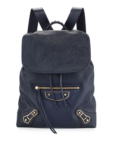 Metallic Edge Goatskin Backpack, Royal Blue