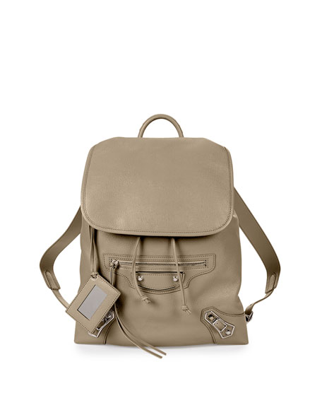 BalenciagaMetallic Edge Goatskin Backpack, Taupe