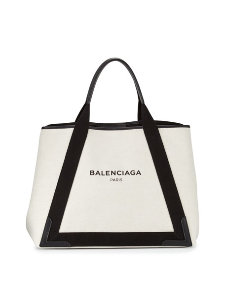 Balenciaga Cabas Medium Canvas Logo Tote Bag, Black/Natural