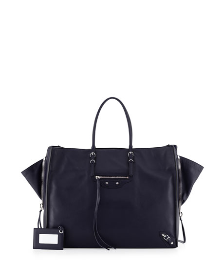 Balenciaga Paper Zip-Around A4 Tote Bag, Royal Blue