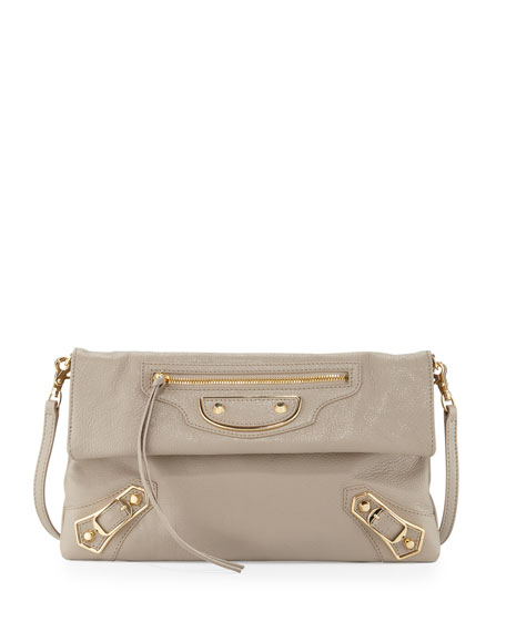 Balenciaga Metallic Edge Envelope Crossbody Bag, Beige