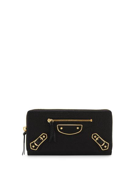 Balenciaga Metallic Edge Zip-Around Wallet