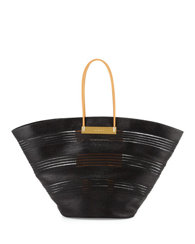 Cable Mani Raffia Basket Tote Bag, Black/Natural