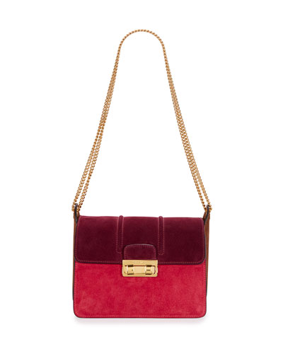 Jiji Bicolor Suede Shoulder Bag, Purple/Fuchsia