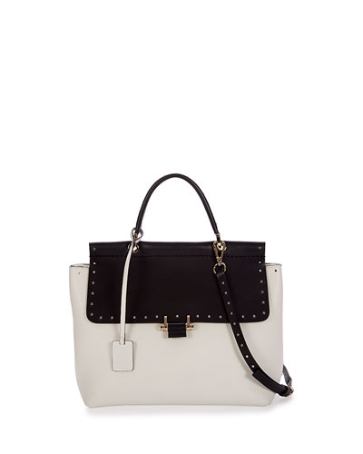 Essential Small Stud Satchel Bag, Black/White