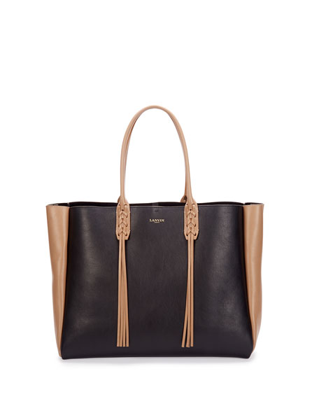 Medium Bicolor Leather Tote Bag w/Fringe, Black/Tan