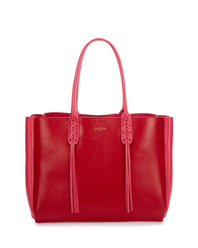 Medium Bicolor Leather Tote Bag w/Fringe, Red/Pink