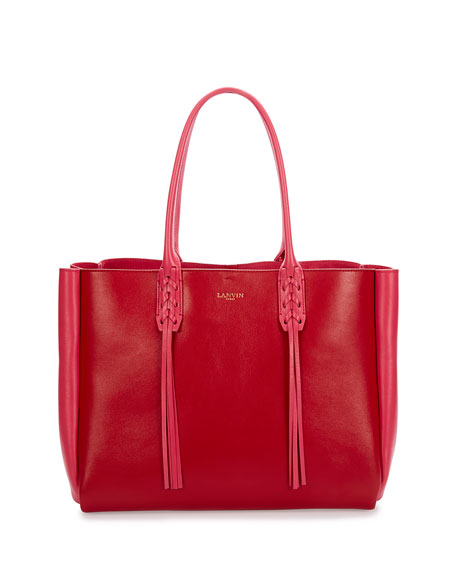 Lanvin Medium Bicolor Leather Tote Bag w/Fringe, Red/Pink