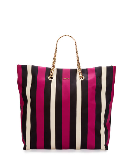 Lanvin Sugar Medium Striped Nylon Tote Bag, Black/White/Fuchsia