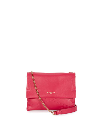 Mini Sugar Lambskin Shoulder/Crossbody Bag, Fuchsia