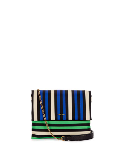 Mini Sugar Nylon Striped Shoulder Bag, Blue/Green/White