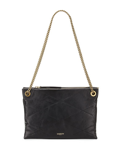 Sugar Quilted Small Double-Zip Shoulder Bag, Black