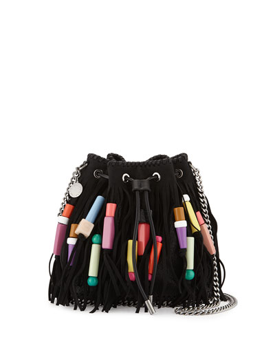 Falabella Small Fringe Bead Bucket Bag, Black