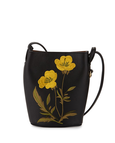 Flower-Embroidered Small Bucket Bag, Black