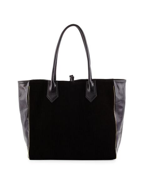 Lauren Merkin Reese Leather Combo Tote Bag, Black
