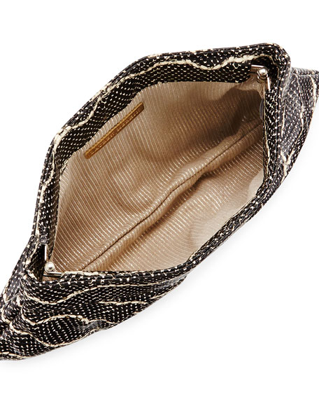 Lauren Merkin Louise Snake-Embossed Leather Clutch Bag, Black/Cream