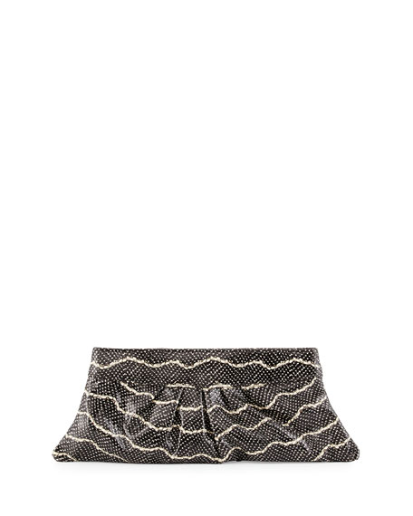 Lauren Merkin Louise Snake-Embossed Leather Clutch Bag, Black/Cream