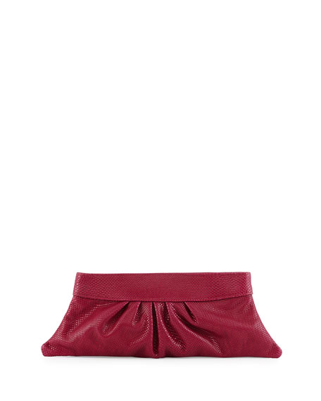 Lauren Merkin Louise Snake-Embossed Leather Clutch Bag, Peony